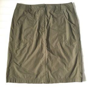 J. Jill Khaki Green Cotton Skirt